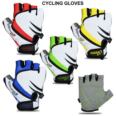 Cycling Gloves Men Bike Half Finger Gel Padded Fingerless Gloves (High Quality) • 6.99£
