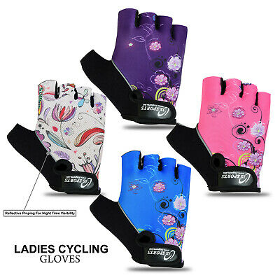Ladies Cycling Gloves Half Finger Bicycle Gel Padded Fingerless (Best Quality) • 6.99£