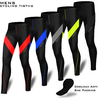 Mens Cycling Trouser Compression Tights Long Pant Coolmax Padded Cycle Legging • 11.99£