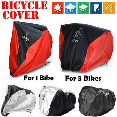 Single/Double/Triple Bicycle Bike Cycle Cover Waterproof Rain Protection Outdoor • 13.89£