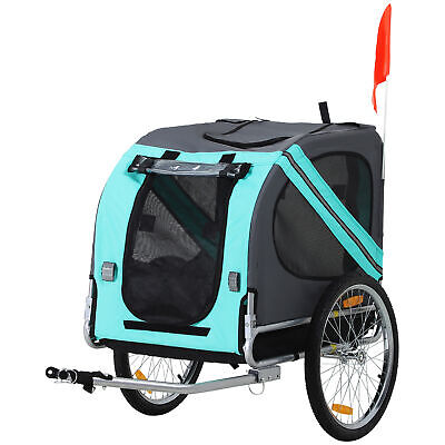 PawHut Pet Bicycle Trailer Dog Cat Bike Carrier Water Resistant Green Outdoor • 80.99£
