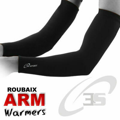 Cycling Arm/Elbow Warmer Thermal Roubaix Winter Running Cycle Warmers All Black • 8.99£