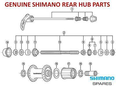 GENUINE SHIMANO CASSETTE REAR HUB FREEHUB,CONE,AXLE,SEAL,SKEWER For 8/9/10 SPEED • 26.49£