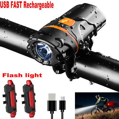 Bright 1200 Lumen USB Rechargeable Bike Bicycle Headlight Front Back Lights Set • 12.99£