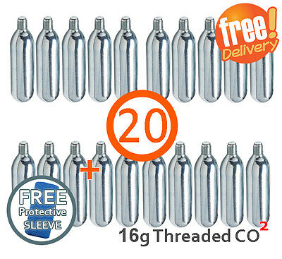 20 X 16g Threaded CO2 Cartridge Canister Capsule Bike Tyre Inflator Pump Gas • 18.39£