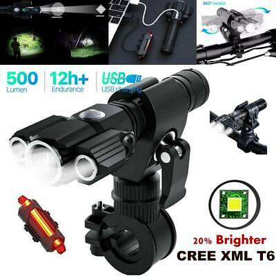 Rechargeable LED Mountain Bike Lights 18650 Bicycle Torch Front & Rear Lamp Set • 17.99£