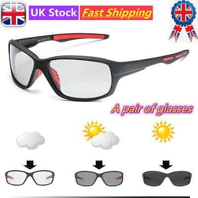 Polarized Photochromic Sunglasses Mens Bicycle MTB Riding Fishing Lens Glasses • 5.79£