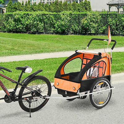 HOMCOM 2-in-1 Bicycle Baby Trailer/Stroller Jogger 2-Seater Child Carrier • 88.99£