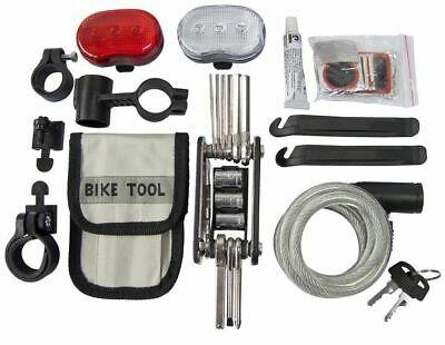 35pc Bicycle Accessory Multi Tool Kit Lights Wire Lock Bike Puncture Repair • 9.20£