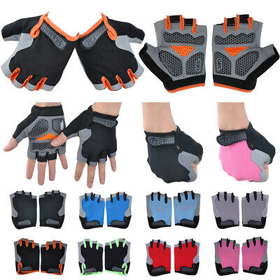Mens Womens Bike Bicycle Cycling Half Finger Gloves GEL Silicone Pad Fingerless • 4.39£