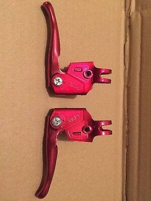 NOS MX Levers Vintage Old School Bmx Brake Levers Anodised RED Original 80s  • 9.99£