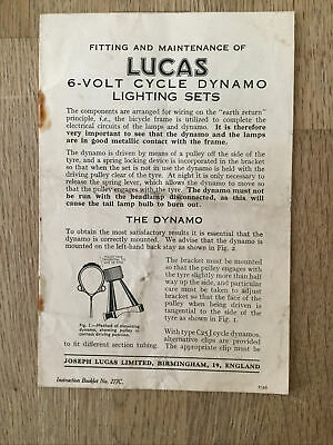 Vintage Fitting And Maintenance  6 Volt Cycle Dynamo Lighting Sets Instructions  • 10£