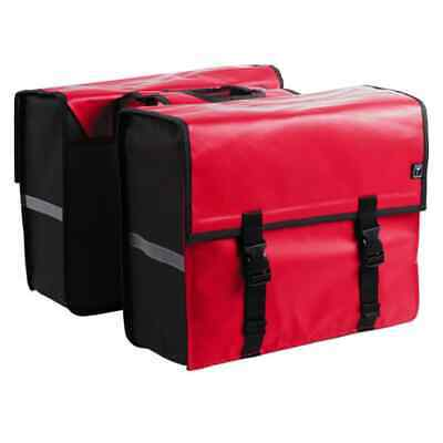 7-series Bicycle Double Pannier Tarpaulin 46L Red Travel Shopping Cycle Bag • 46.63£