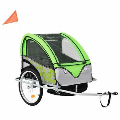 VidaXL 2-in-1 Kids' Bicycle Trailer & Stroller Green And Grey Bike Jogger • 128.99£