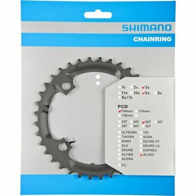 CHAINRING 36T Shimano Black Chainring FC-M431 9 Speed Middle • 8.99£