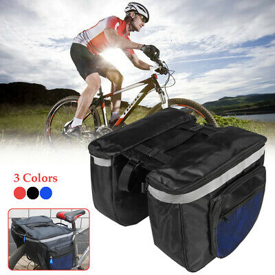 20L Bike Bicycle Cycling Rear Seat Double Pannier Saddle Bag Rack Pack   *.* UK • 8.99£