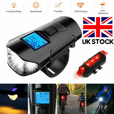 Speedometer Bike Head Light USB Rechargeable Bicycle LED Front Rear Fog Lamp Set • 9.98£