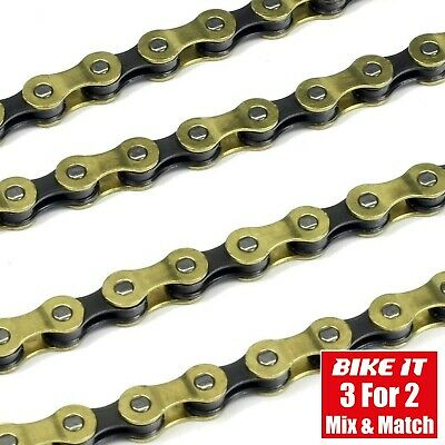 9 Speed Cycle Chain 114 Link Gold - Mtb Mountain Bike Hybrid Bicycle Xc Downhill • 18.99£