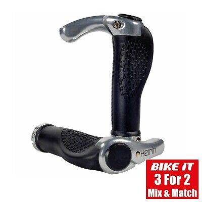 New Lock-on Cycle Anatomic Handlebar Grips With Bar Ends Silver - Mtb Hybrid • 12.99£
