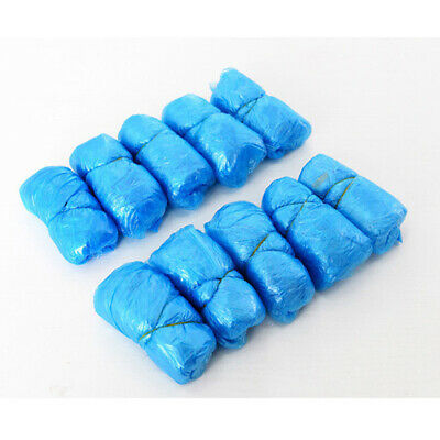 100 Disposable Shoe Covers Blue Anti Slip Plastic Cleaning Overshoes Boot • 6.20£