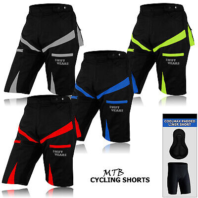 MTB Cycling Shorts CoolMax Padded Bicycle Top Quality Off Road Liner Cycle Short • 24.99£