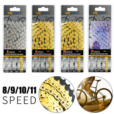 VG 8/9/10/11 Speed Gear Bicycle Chain Half-Hollow 116 Links MTB Road Bike Chains • 15.09£