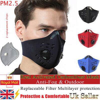 Bicycle Cycling Respirator Anti Air Pollution Face Mask Activated Carbon Filters • 6.98£