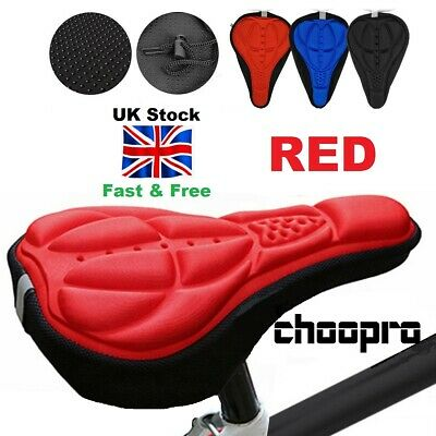 Bike Cushion Seat Cover Bicycle Gel Saddle Comfort Padded Bottom Fasten Up RED  • 4.75£