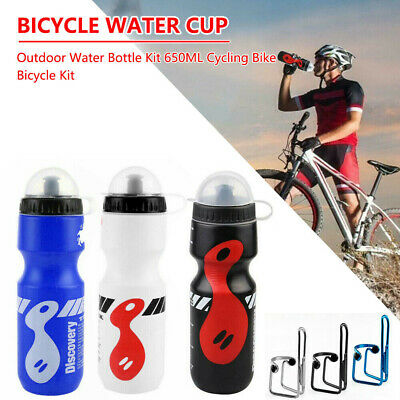 650ML Mountain Bike Bicycle Cycling Water Drink Bottle And Holder Cage Kit HOT • 4.89£
