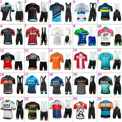 New Mens Team Cycling Jersey And Bib Shorts Kits Bicycle Tops Short Sleeve Suit • 18.59£