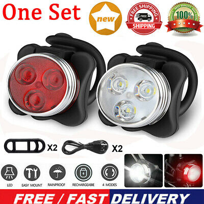 Rechargeable USB LED Bike Bicycle Head And Tail Cycling Front Back Headlight Set • 6.99£