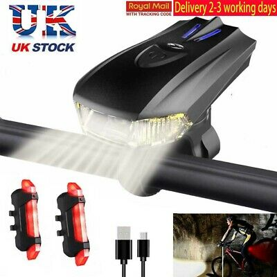 MTB Bike Bicycle Cycling USB Rechargeable LED Head Front Light Rear Tail Lamp D