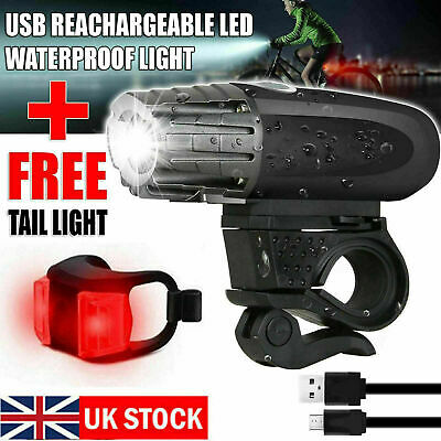 Rechargeable USB LED Bike Bicycle Head And Tail Cycling Front Back Headlight Set • 7.89£
