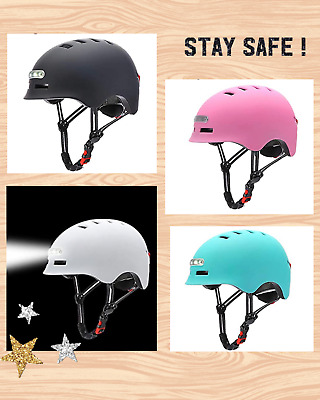 Bike Helmet With USB Chargeable Lights  🎉🎉 UK Stock • 38£