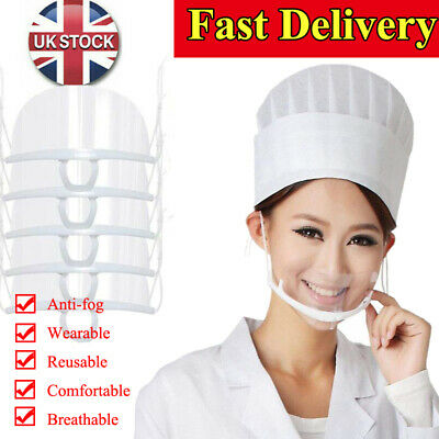 Facial Shield Anti-saliva Clear Mouth Shield Reusable Cover Catering Chef Masks • 23.79£