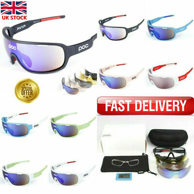 POC Cycling Biker Glasses Sunglasses UV400 Polarized Glasses W/ 5pc Replace Lens • 12.89£