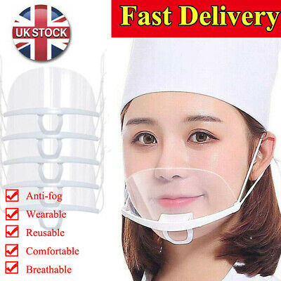 Clear Face Cover Transparent Mask Plastic Mouth Shield Guard Kitchen Anti-saliva • 21.80£