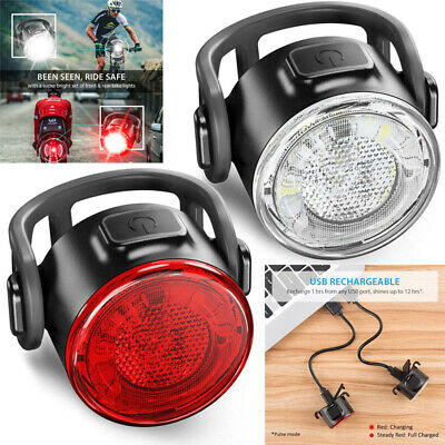 Waterproof Bike Bicycle USB Rechargeable LED Head Front Light/Rear Tail Lamp UK • 9.99£