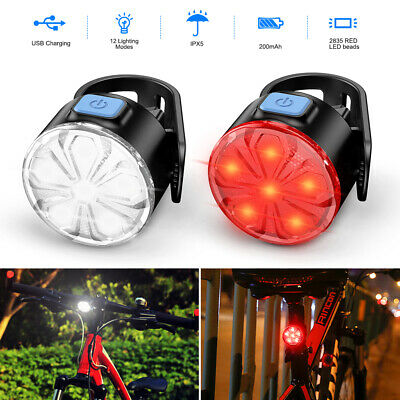 Bicycle Bike Cycling Hazard Lights USB Rechargeable LED Head Front Rear Lamp Set • 8.98£