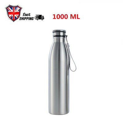 1000ml Large Capacity Portable Outdoor Sports Stainless Steel Water Bottle • 7.99£