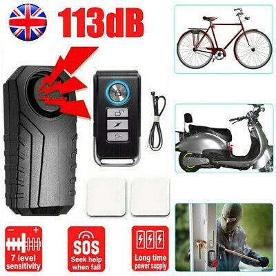 113dB Loud Wireless Anti-Theft Vibration Motorcycle Bicycle Bike Alarm Security • 12.79£