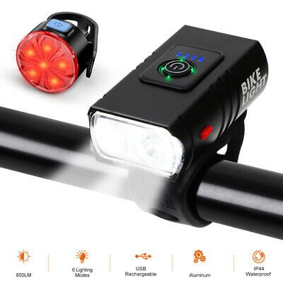 LED Bicycle Bike Head Light USB Rechargeable Waterproof Front Rear Tail Lamp Set • 9.98£