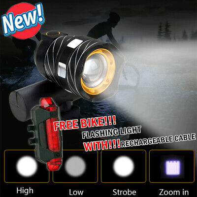 LED MTB Rear & Front Set 15000LM Bicycle Lights Bike Headlight USB Rechargeable • 9.89£