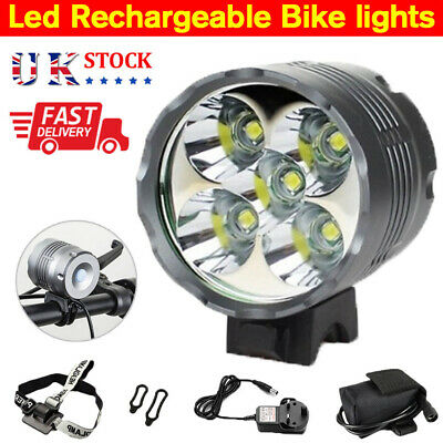 10000LM 5x Cree XML T6 LED MTB Bike Bicycle Front Lights Headlight Rechargeable • 17.99£
