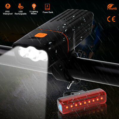 1500LM Bike Lights USB Rechargeable T6 LED Bicycle Head Front Rear Tail Lamp Set • 12.98£