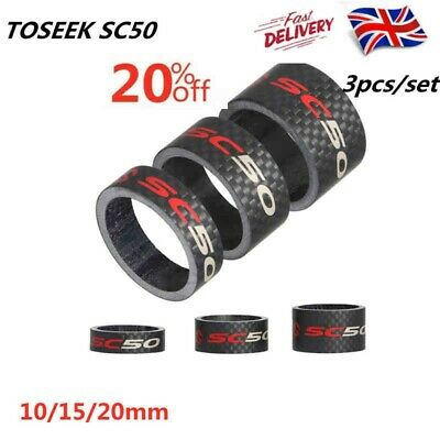 10/15/20mm Bike Fork Washer Carbon Fiber Spacers Mountain Bicycle Headset Washer • 8.27£
