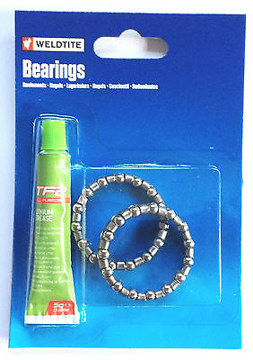 Weldtite Cycle-Bicycle-Bike Caged Bottom Bracket-Headset Bearings With Grease • 2.60£