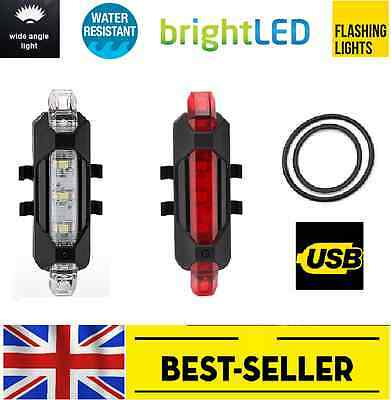 Front Rear 5 Led USB Rechargeable Bike Lights - Small Red White Light Waterproof • 6.90£