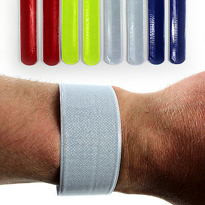 High Viz Reflective Slap Snap Wrap Arm Band Trouser Clip Bicycle Cycle Safety • 2.49£