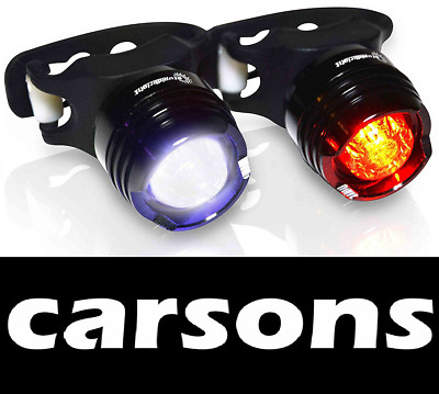 BLACK Front & Rear Red Ruby Bike Lights Set Kit Silicone Light BATTERY INCLUDED • 7.25£